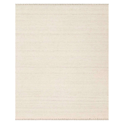 A neutral toned grey and white rug made of a blend of wool, polyester, and cotton.