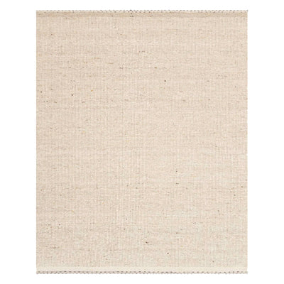 Soft, textural, oatmeal coloured rug with soft striped motifs around the ends and a minimalist appearance.