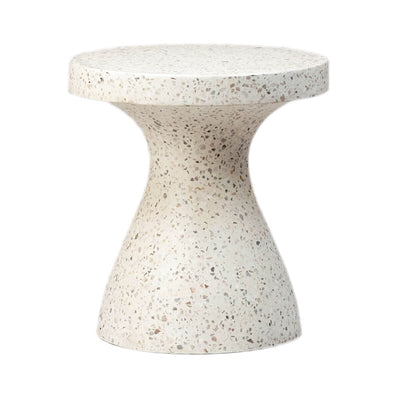 The Livorno Side Table is a white stone terrazzo pedestal table.