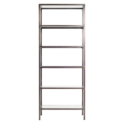 The Worthington Bookshelf has a metal frame in a gunmetal finish with glass shelves.
