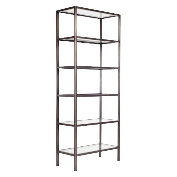 Modern bookshelf with a gunmetal finished, metal frame and six glass shelves.