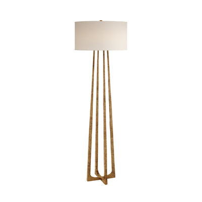 The Scala Floor Lamp has a hand-forged, iron column with a gilded iron finish and a natural percale shade.