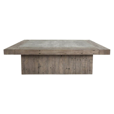 The Mesa Coffee Table is made of reclaimed pine wood in a concrete laminate top.