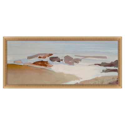Large sized seashore painting with abstract style in a neutral palette and gold frame.