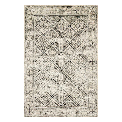 Black and ivory power loomed rug with aztec patterns.