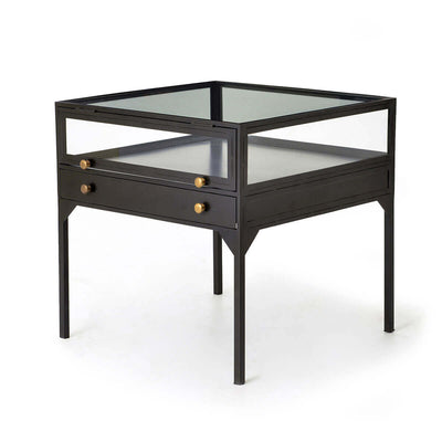 Shadow box nightstand with tempered glass top, black metal frame, and brass knobs.