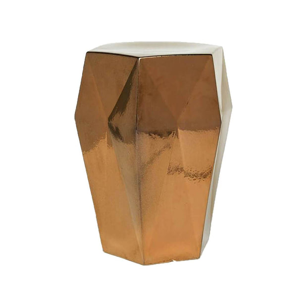 The Attiki Stool is a gemstone inspired ceramic stool in crackled gold finish.