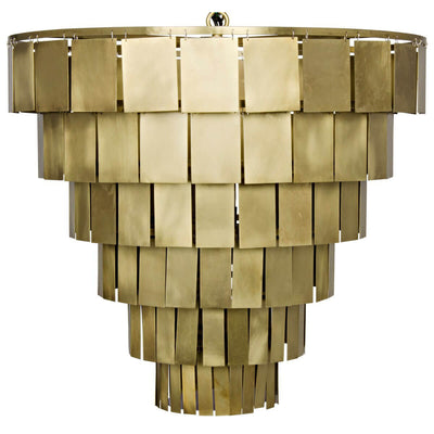 Monti Chandelier. Tiered chandelier with brass rectangular elements and a fringe inspired look.