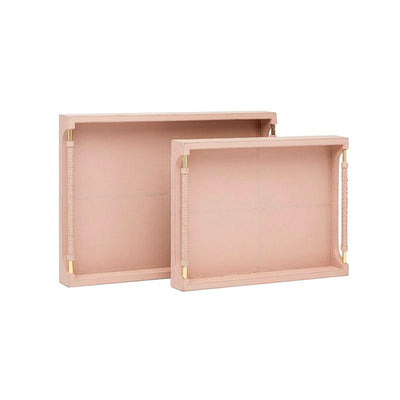 Pink full-grain leather tray with brass hardware.