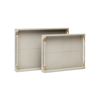 Full grain leather trays in a light grey color with brass hardware.