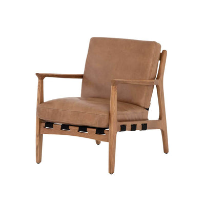 The Antigua Chair has a copper, top-grain, hand-finished leather seat and natural ash frame with a natural finish.
