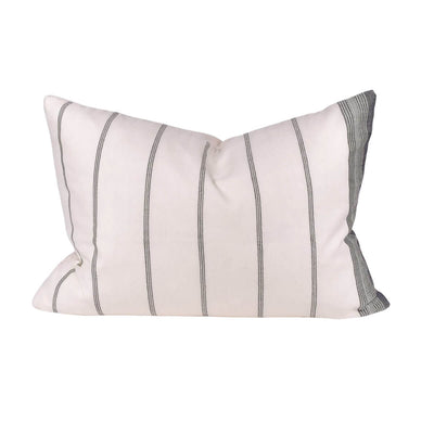 The Silk Bhujodi Pillow - Cream is a cream and grey striped handwoven throw pillow.