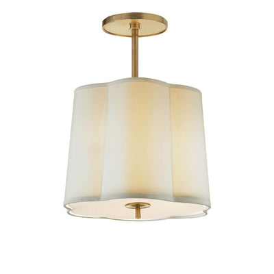 The Simple Scallop Semi-Flush Mount has a simple scalloped hanging silk lampshade with a soft brass rod and hardware.