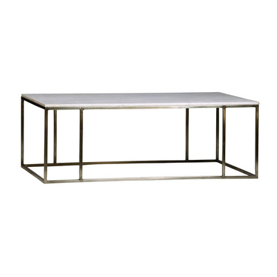 The Fresno Coffee Table is a rectangle coffee table with an antique nickel frame and polished marble tabletop.