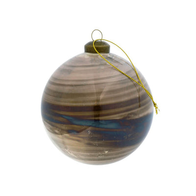 The Smoke Rings Ornament is a brown and blue ringed Christmas ornament.