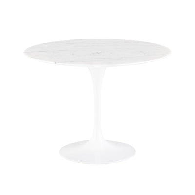 Round marble top dining table with aluminum base. Mid-century design for casual dining space.