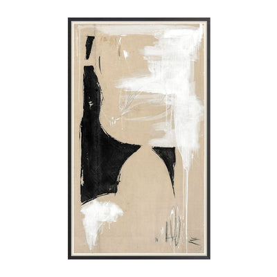 The Split framed canvas is an abstract artpiece by Gayle Harismowich with a warm neutral palette.