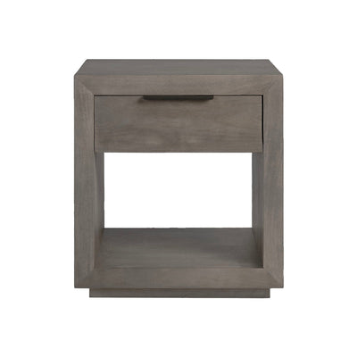 Nightstand made from natural mango wood and has an open shelf and one drawer with horizontal bar drawer pull.