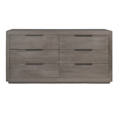 The Stavern Dresser is made of natural mango wood and has six drawers with simple horizontal bar hardware and a modern look.
