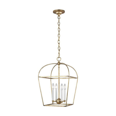 Poznan 4 Light Lantern. Antique gold steel lantern chandelier with four candelabra bulbs.