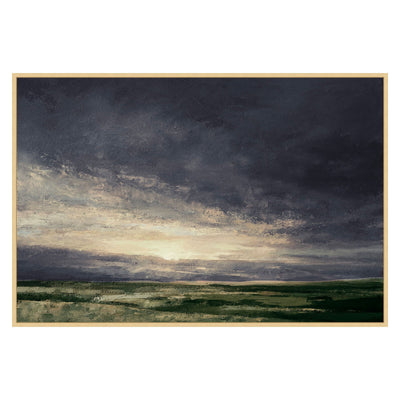 Dark painting of a meadow on canvas, artist enhanced.