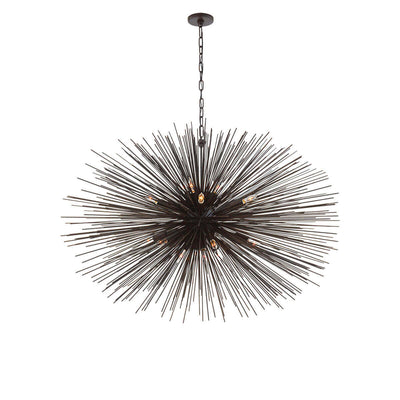 The Strada Oval Chandelier has twenty small lights hidden within the aged iron metal spike arms on the starburst pendant.
