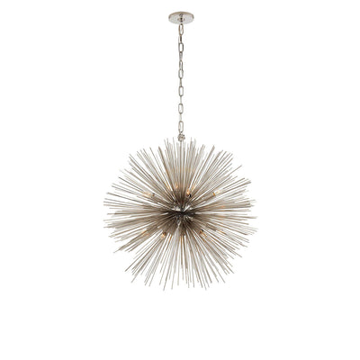 The Strada Round Chandelier has twenty small lights hidden within the polished nickel metal spike arms on the round starburst pendant.