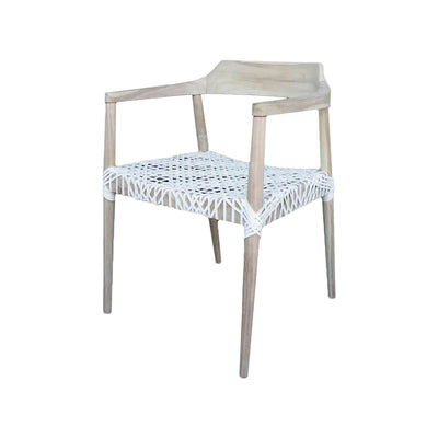 The Arica Arm Chair is a modern teak chair with a woven, white leather seat.