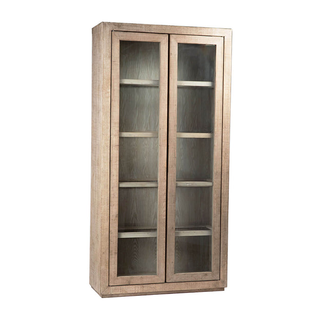 The Austell Cabinet is made from recycled pine with a whitewash finish and pine framed glass shelves and doors.