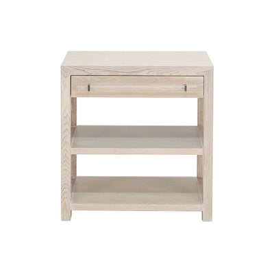The Sunnyvale Side Table is made of solid oak, with on drawer and two lower shelves and acrylic nickel hardware.