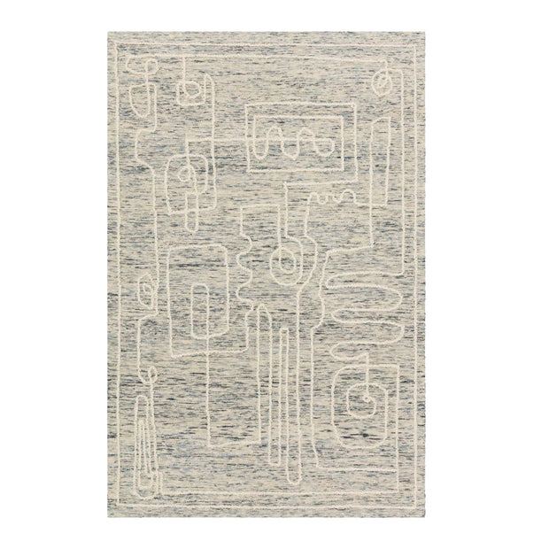 Hand tufted rug made in India with abstract designs.