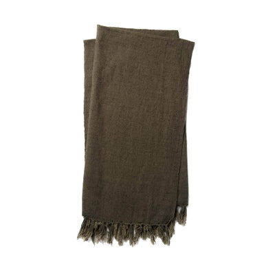 The Gobi Throw - Coffee is a simple, dark brown coloured, cotton and linen blanket with a fringe edge.