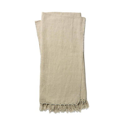 The Gobi Throw - Grey is a simple light grey coloured, cotton and linen blanket with a fringe edge.