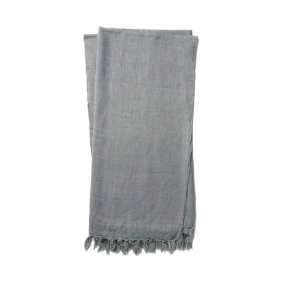 The Gobi Throw - Slate is a simple slate coloured, cotton and linen blanket with a fringe edge.