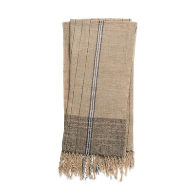 The Lazio Throw - Natural / Multi is a 100% linen throw blanket with a striped pattern, fringe details and neutral colour palette.