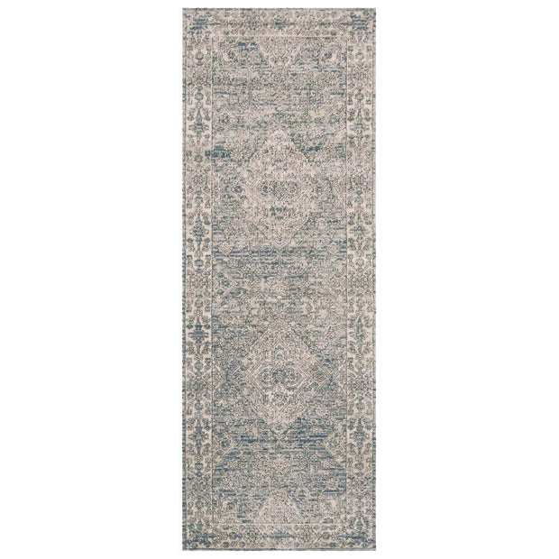 Sky and natural runner with a traditional, power loomed pattern.