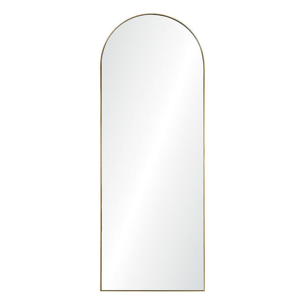 The Arch Mirror is a full length mirror with a thin, gold frame and arched top.