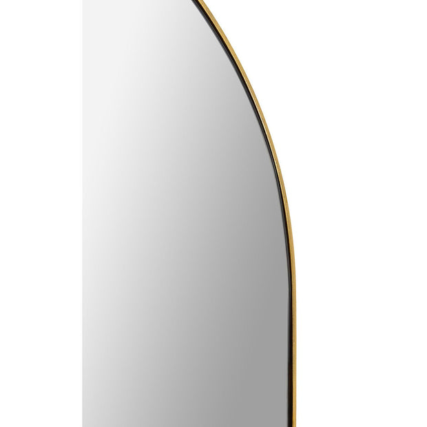 Modern mirror with a thin fold frame with arched top.