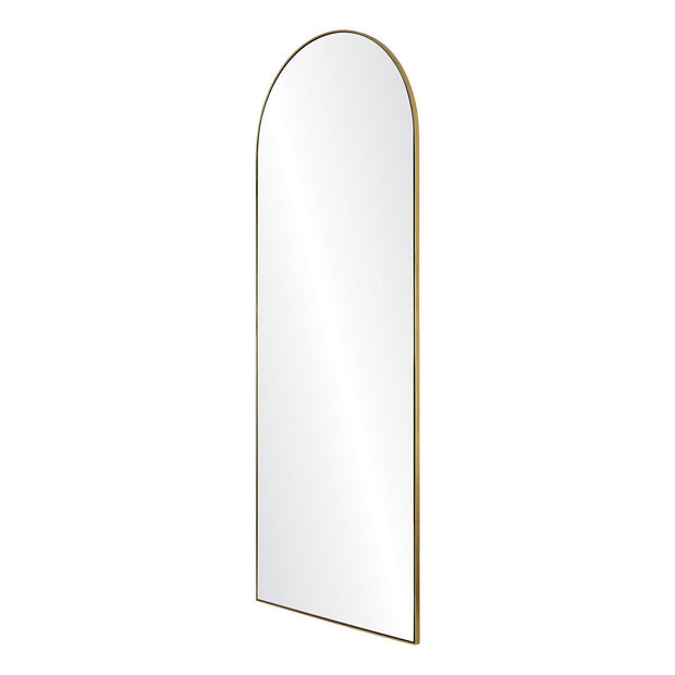 Modern arched mirror with a thin gold frame.