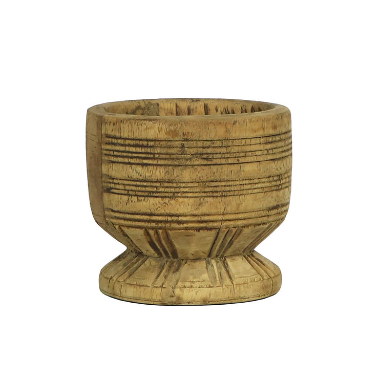 Small antique wood spice mortar dish that has been sourced from India.