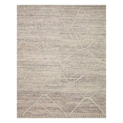 This rug features a unique abstract geometric design in warm grey tones.
