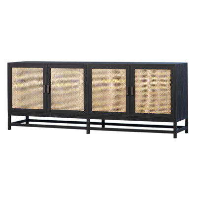 Textural, bohemian styled sideboard made of teak wood in black stain and rattan.