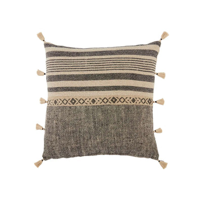 "Tribal pattern, neutral coloured indoor pillow. 18"" x 18"" made of 100% linen and 100% down fill."