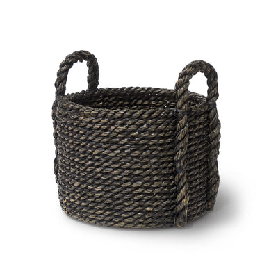 The Oamaru Chunky Basket is made from hand-woven chunky twisted seagrass in a black wash finish.