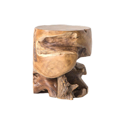 The Bali Stool is a round side table made from a natural teak root.