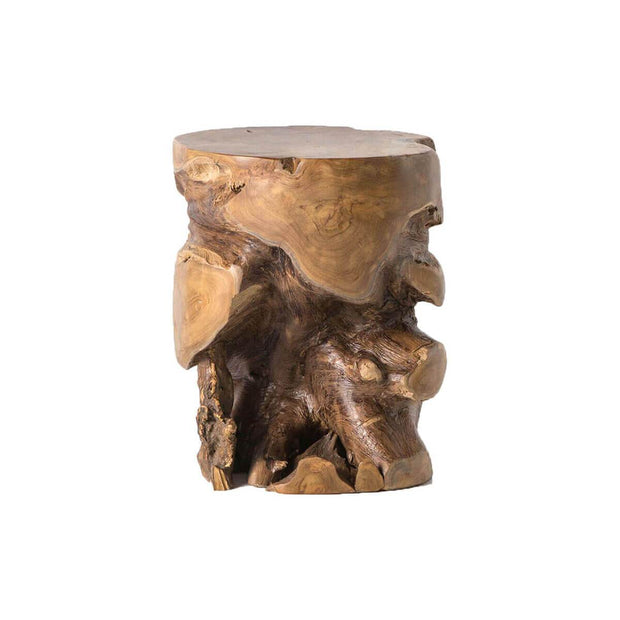 Round stool made from a natural teak root.