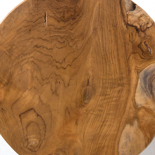 Top view of the natural teak root stool.