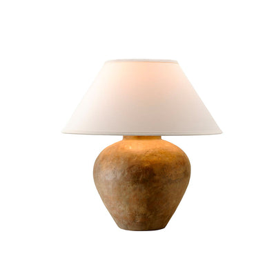 Terracotta and linen table lamp.