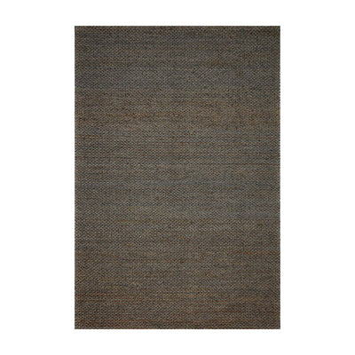 Earthy, charcoal and blue-toned textural jute rug. Handwoven rug.