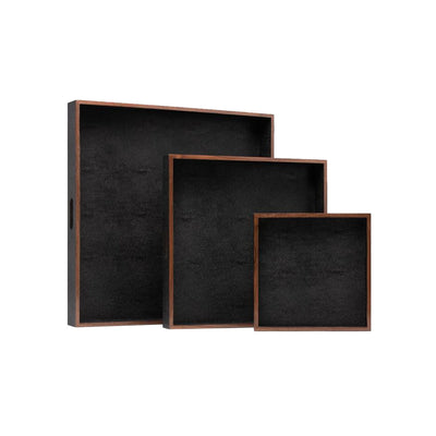 Black faux shagreen and wooden tray set of three.